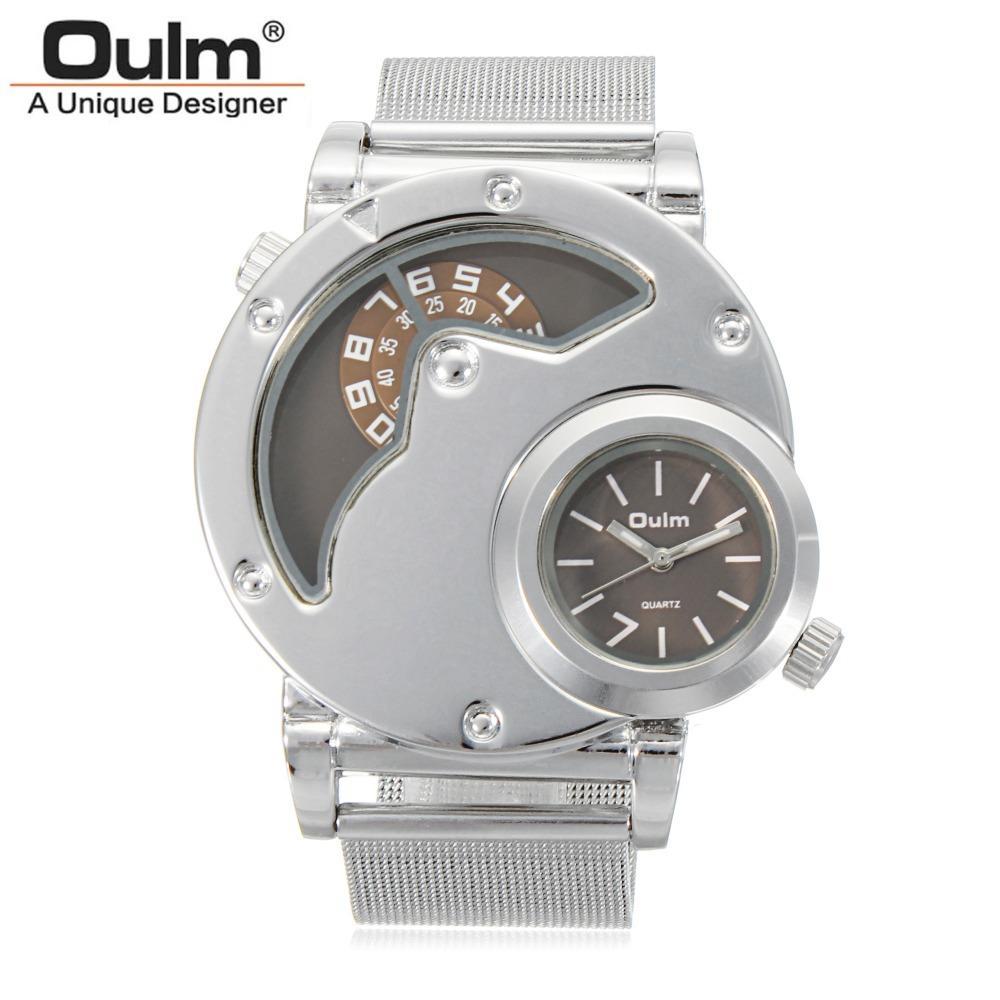 OULM Uhren Männer Armee Dual Time Bewegung Herren Edelstahl Starp Quarz-Armbanduhr Relogio Masculino Geschenk New