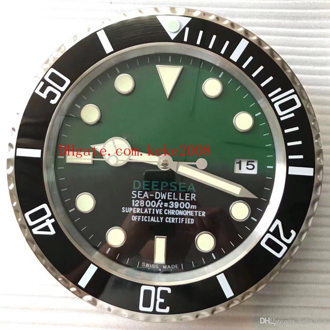 Excelente reloj de pared SEA 126660 126600 116660 34 CM x 5 CM 3 kg Cronógrafo de cuarzo de acero inoxidable Azul Reloj de decoración del hogar luminiscente