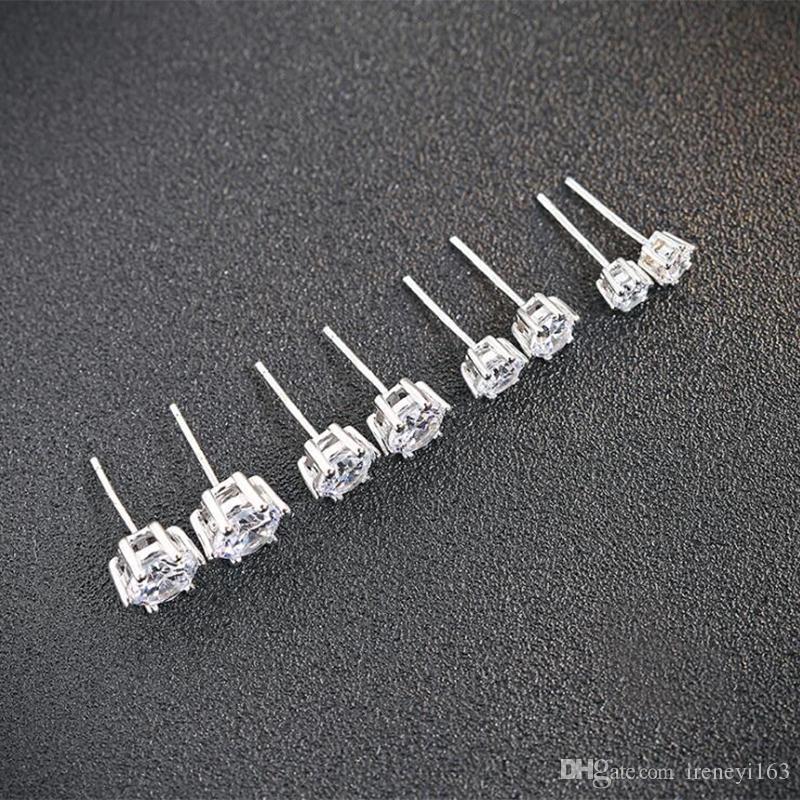 Precio barato 5prs / Lot 3A Blanco CZ Piedra Pendientes de piedra 925 Joyería de plata de los pernos prisioneros de las mujeres