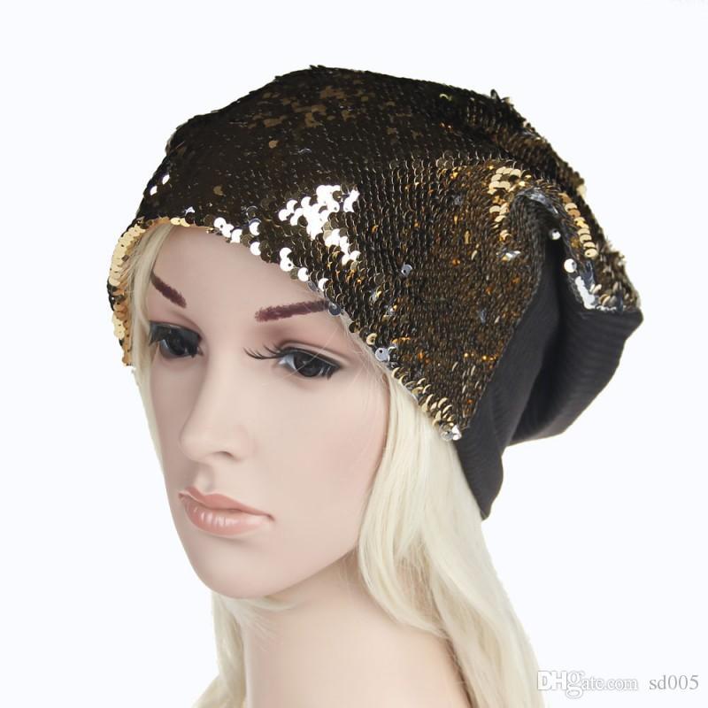 Mode Femmes Paillettes Bonnets Doux Élastique Magique Réversible Extérieure Chapeaux Printemps Automne Partie Danse Cap Usine Directe 12xm BB