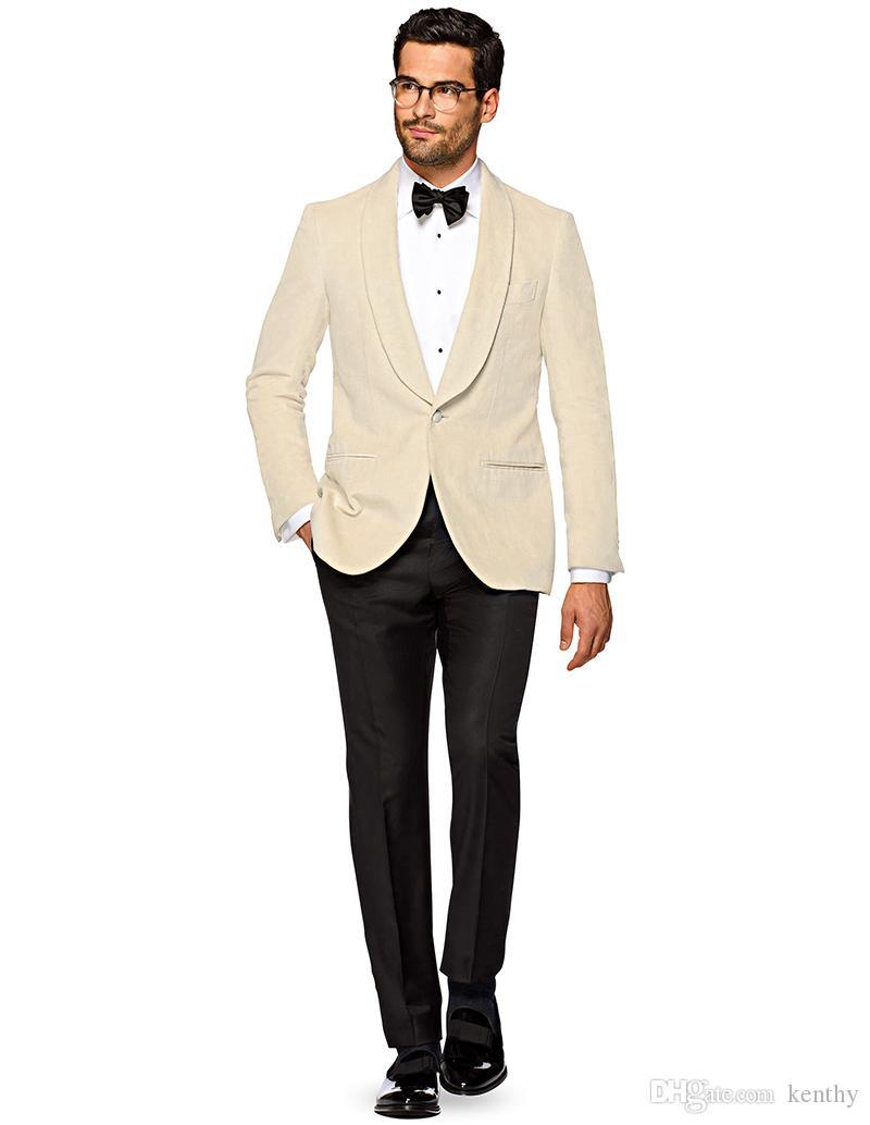 Günlük 2020 Yaz Bej Erkekler Suits Şal Yaka Custom Made Slim Fit Düğün Suit Damat Groomsmen 2piece Sağdıç Balo Terno Masculino