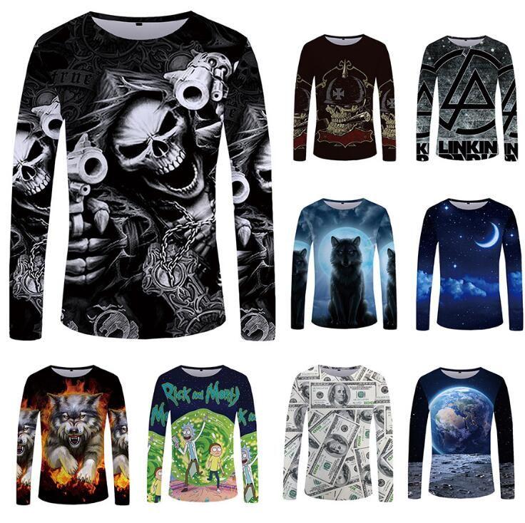 Crâne à manches longues T-shirt Pistolet Vêtements Punk Vêtements Gothic Tshirt Drôle T shirts Tees Homme Hop Punk Haute Qualité