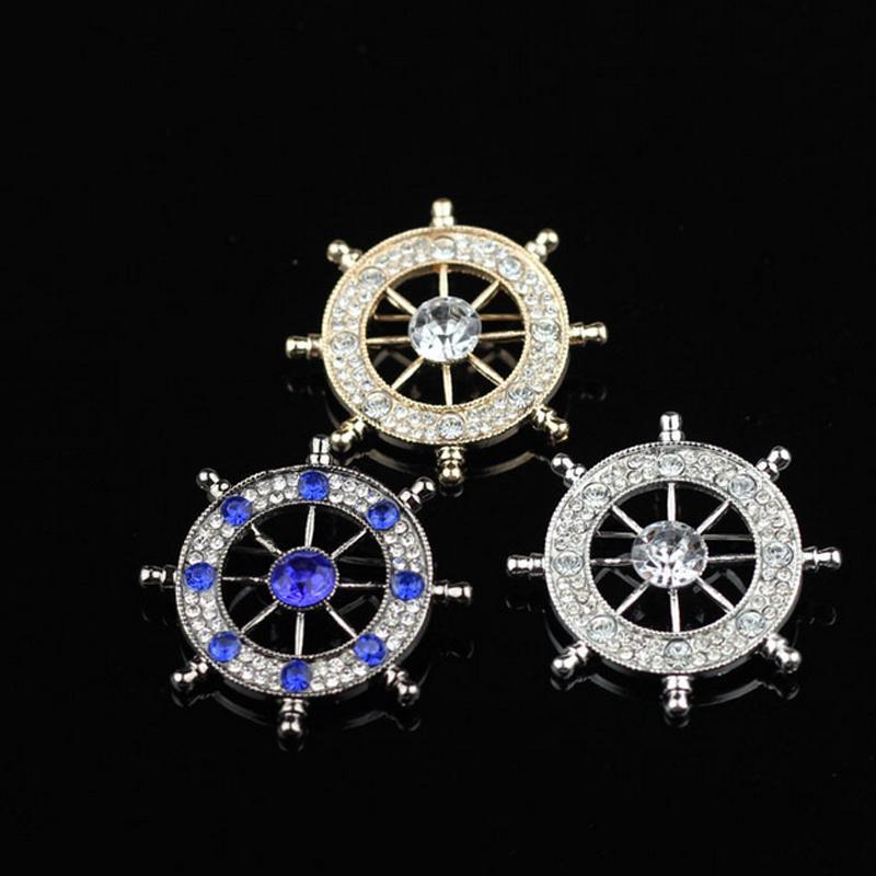 Novas Mulheres Homens Rhinestone Leme Broche de Negócios Terno Lapela Pin Presente para o Amor Jóias Acessórios com Transporte Rápido