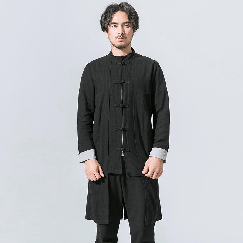 Chińskie Kongfu Ubrania Mężczyźni Stojak Kołnierz Coon Linen Długi Trench Coat Męski Moda Casual Slim Fit Cardigan Kurtka