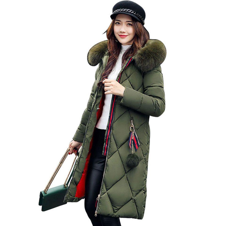 Mulheres Casacos de Inverno E Casacos Casuais de Manga Longa Grande Gola De Pele Para Baixo Casaco Feminino Solto Quente Com Capuz Parkas Plus Size