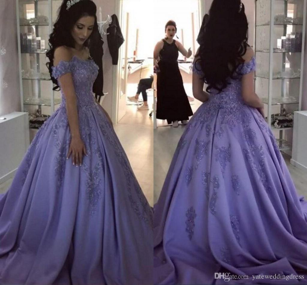 New Style A-Line Lavendel Abendkleider Off Abendkleider Rückseite Reißverschluss nach Maß mit Spitze applique formale Kleider Partei Sweep Zug Schulter
