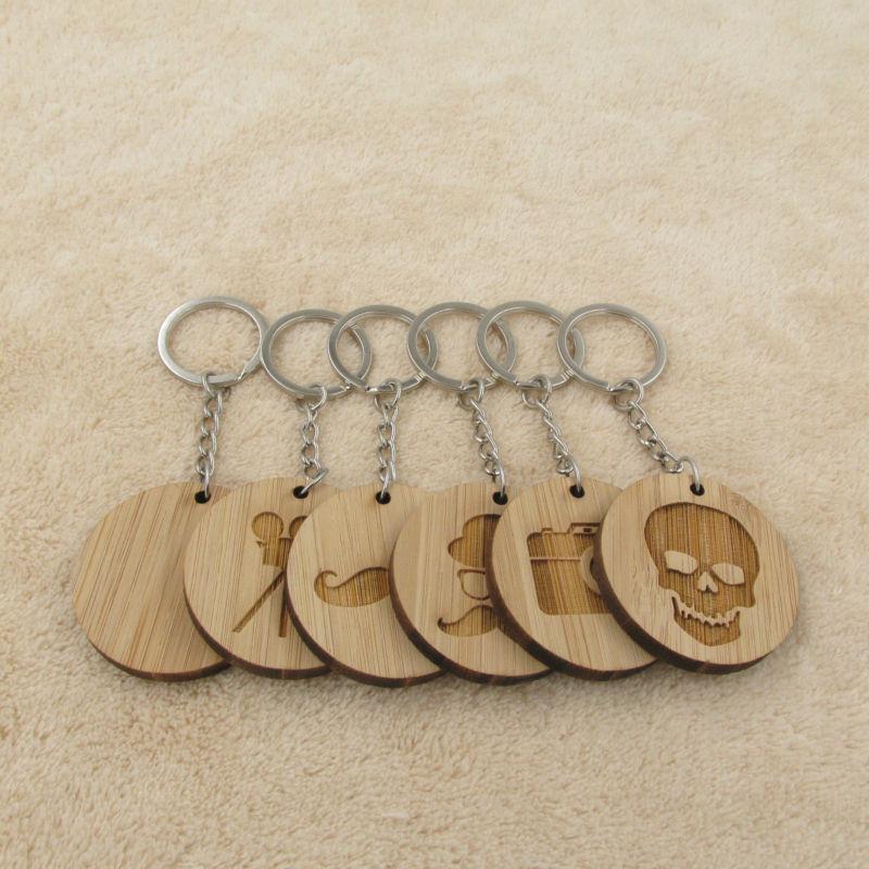 New Classic Porte-clés en bois Flim Gemtleman Moustache Crâne Porte-clés Porte-clés