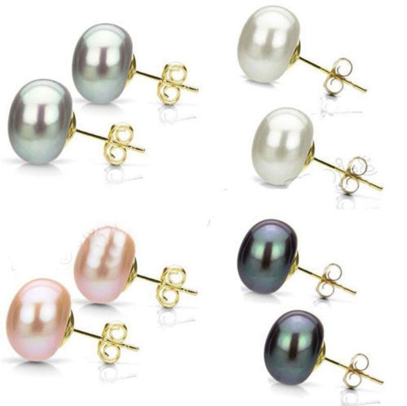 Orecchini pendenti placcati oro naturale genuino Akoya perla d'acqua dolce 14K