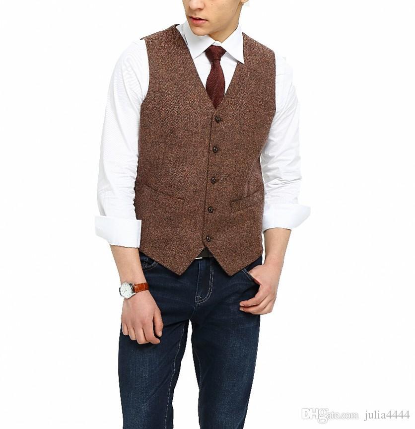 2019 British Country Style Farm Wedding Brown Wool Herringbone Tweed Vests Custom Made Groom's Suit Vest Slim Fit Wedding Vest Men Plus Size
