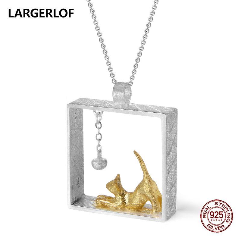LARGERLOF 925 Sterling Silver Pendant Necklaces Women Handmade Fine Jewelry Cat Pendant Silver 925 PD41035 C18110201