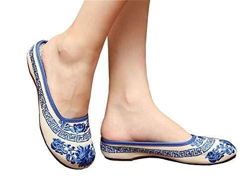 Женский китайский стиль оксфорды подошва вышитые прогулки тапочки узор синий и белый фарфор летние сандалии вышитые