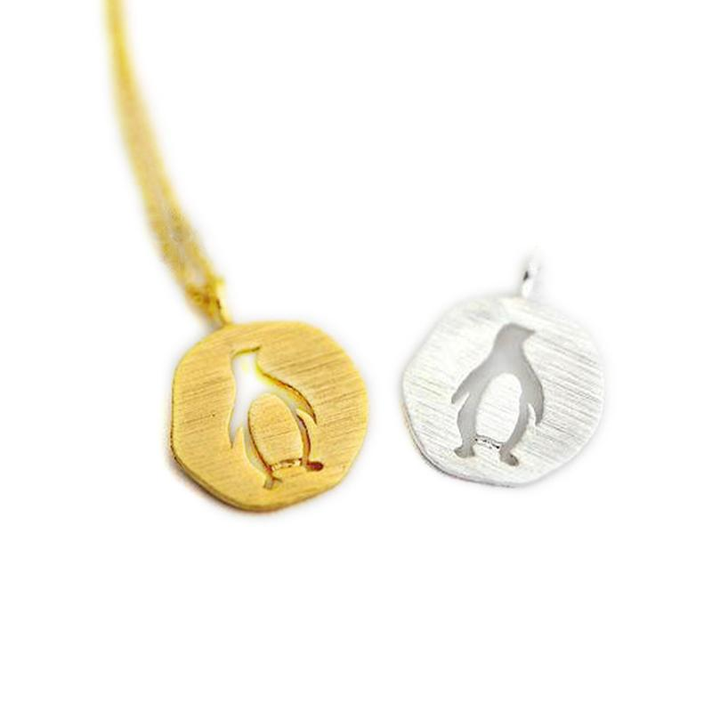 Fashion penguin necklaces Beautiful circular hollow out penguin pendant necklaces Gap penguin pendant necklaces for women