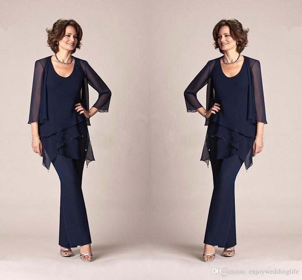 Dark Navy Chiffon Three Pieces Mother of the Bride Pant Suits Jackets Trousers 3/4 Long Sleeves Wedding Party Evening Groom Gowns BA9406