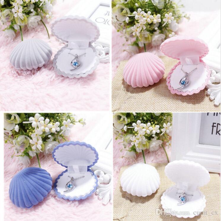 5 색 쉘 모양 귀걸이에 대 한 사랑스러운 벨벳 결혼 약혼 반지 상자 목걸이 팔찌 쥬얼리 선물 상자 홀더
