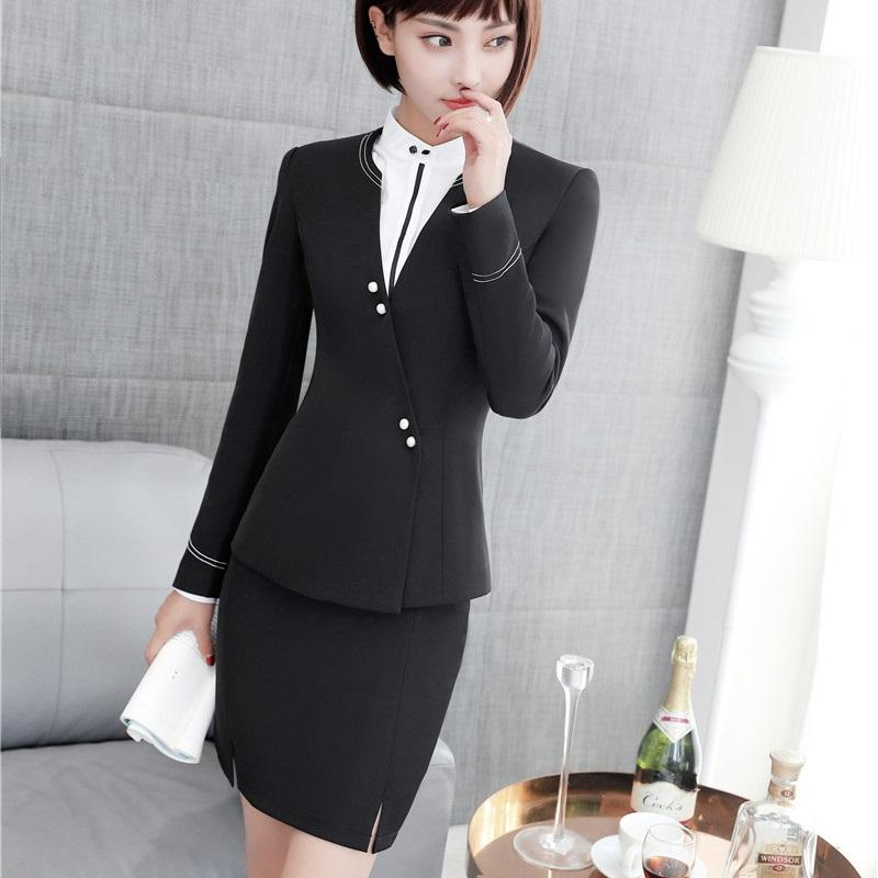 Formal Styles Skirt Suits With Jackets For Women Business Office Work Wear Blazers & Jackets Sets Uniforms Fall Winter Black