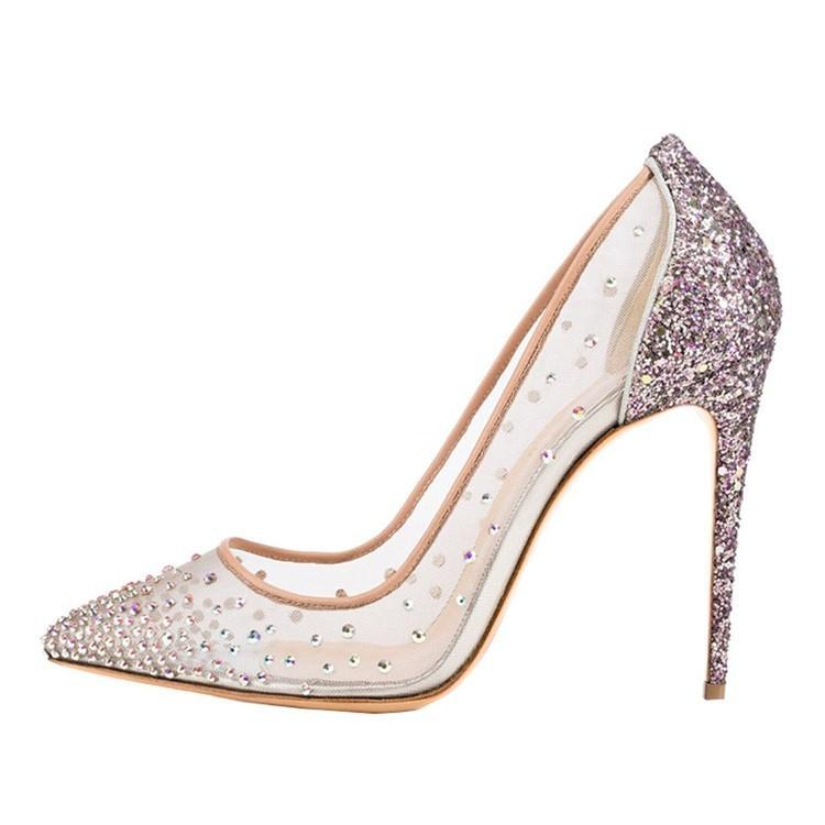 2018 Pantofole Scarpe casual da donna Argento cristallo Tacchi alti a punta Stiletto Plus Size Pompe da sposa con maglia trasparente