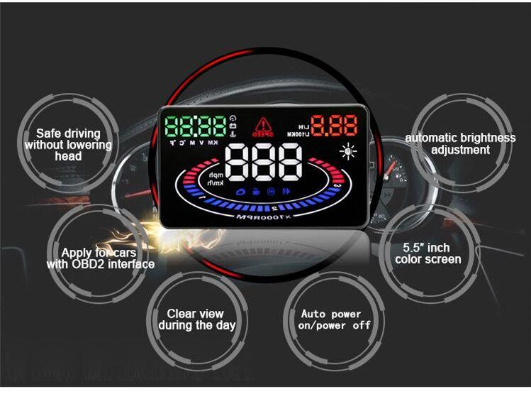 Ekran otomatik ön cam projektör yukarı 5.5 inç güvenli sürüş araba HUD OBD2 kafa yakıt tüketimi monitörü uyarı aşırı hız