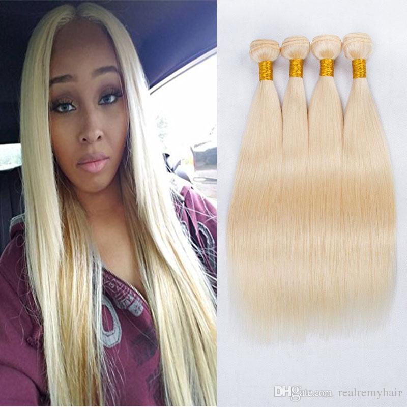 New Arrive Honey Blonde Human Hair Bundles 613# Platinum Blonde Straight Hair Extension Brazilian Unprocessed Virgin Hair Weaves
