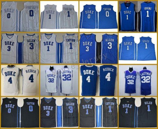 Duke Blue Devils كلية الفانيلة 1 Kyrie Irving 1 Harry Giles 0 Jayson Tatum 3 Grayson Allen 4 Redick 32 Christian Laettner مخيط جيرسي