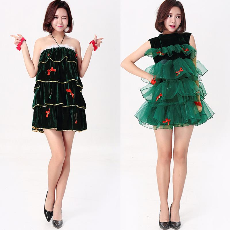 Sexy Female Green Christmas Tree Costumes Christmas Dress Santa Claus Costumes for Women Uniform Santa Dress Free Shipping