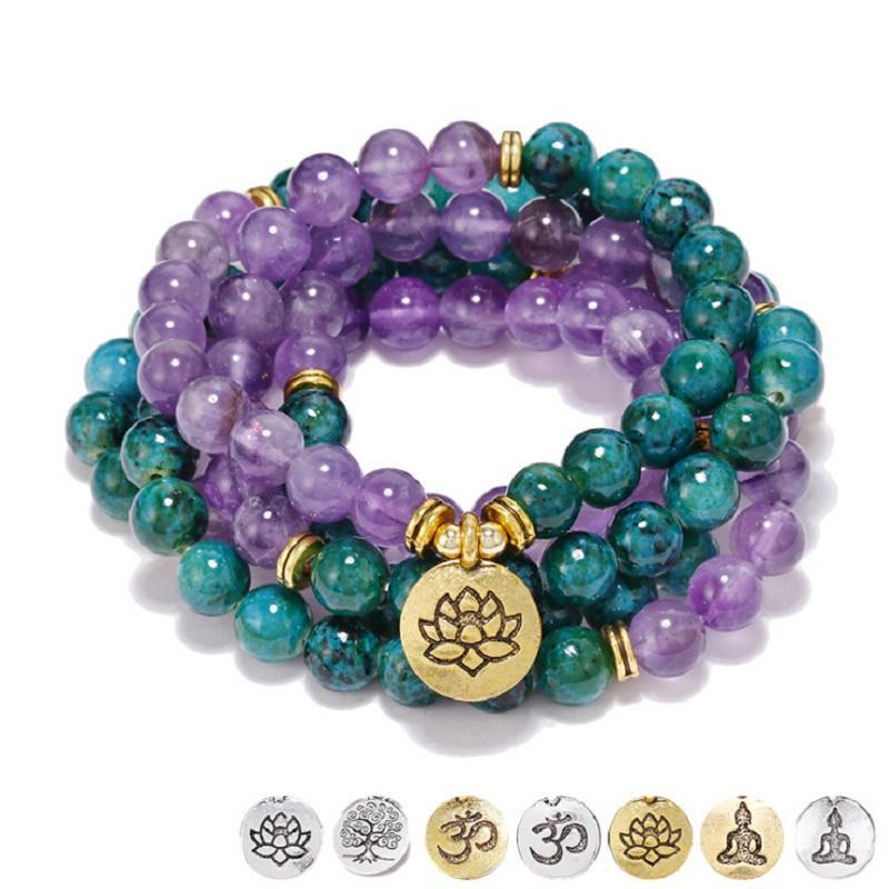 New Design Reines Natur Lila Kristall Phoenix Stein 108 Mala Armband oder Halskette Tree of Life Yoga Frauen-Hand String Großhandel