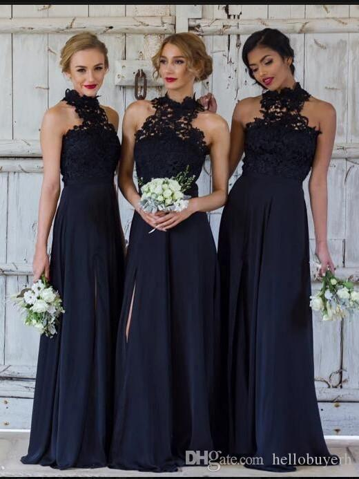 High Neck Navy Blue Bridesmaids Dresses Lace Top Women Elegant Evening Sexy Prom Party Formal Dresses