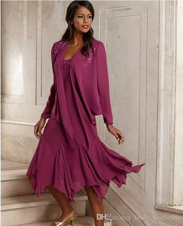 2017 Vintage Elegant Chiffon Plus Size Mother Of The Bride Dresses With Jacket Tea Length Groom Pant Suits Gowns For Weddings