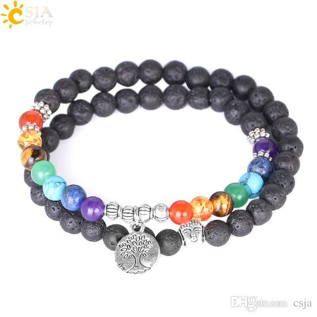 CSJA Women 7 Chakra Meditation Jewelry Silver Beads Natural Lava Rock Stone Beaded Bracelets Multilayer Life Tree Charm Strand Bracelet E871
