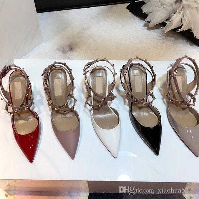 2019high quality The latest hot sale ladies steeple rivet single shoe brand designer fashion personality leather shoes heel heel 9cm size