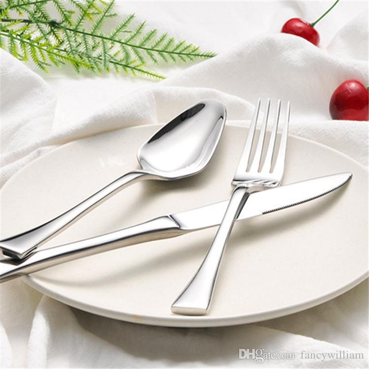 Fantezi Tasarım 304 Paslanmaz Çelik Bıçaklar Forks Kaşık Çatal Otel, En Kaliteli Parlak Gümüş Paslanmaz Çelik Çatal