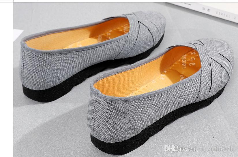 Envío gratis 2018 primavera y otoño nuevo estilo de fondo plano mujeres Zapatos de tela Zapatos de madre