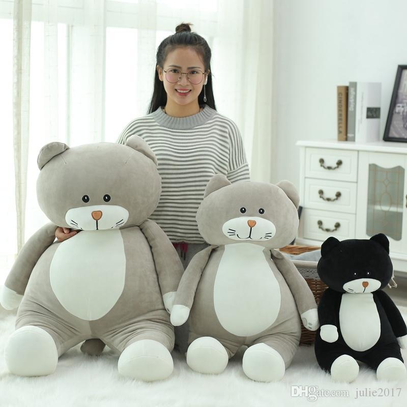 1pc New 60cm 75Cm Super cute cat plush toys soft warm pillow cushion stuffed cartoon pillow Kids birthday gift 2 Colors