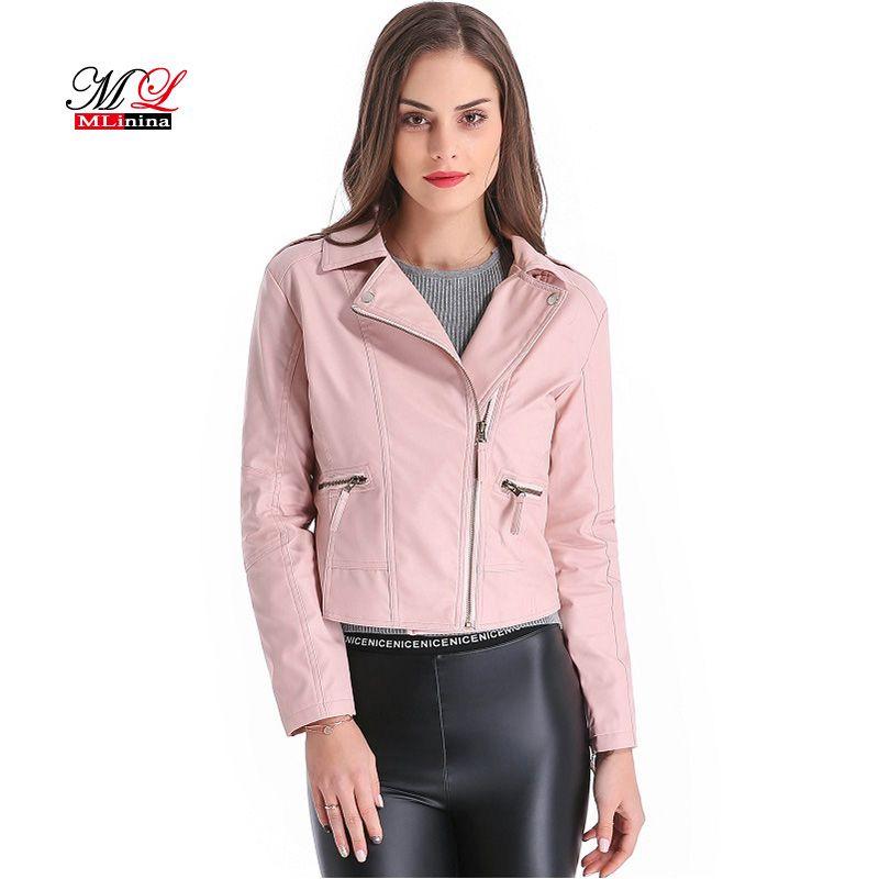 Großhandel MLinina 2018 Neue Straße Frauen Lederjacke Reißverschluss Faux PU Kurze Grund Jacken Frauen Motor Mantel Plus Größe 4XL Weibliche Outwear