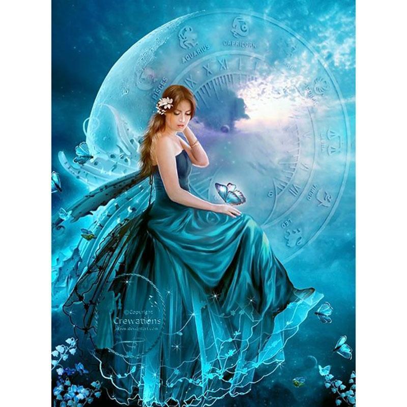 سيدة جميلة 5d الماس ديي الرسم عبر غرزة ديكور المنزل قماش + الماس + الغراء