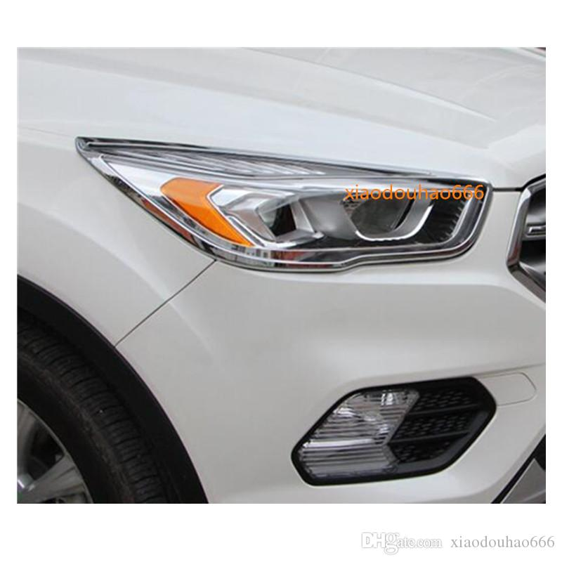 Car body styling head front light lamp frame sticker ABS Chrome cover trim 2pcs For Ford Kuga 2017 2018 2019