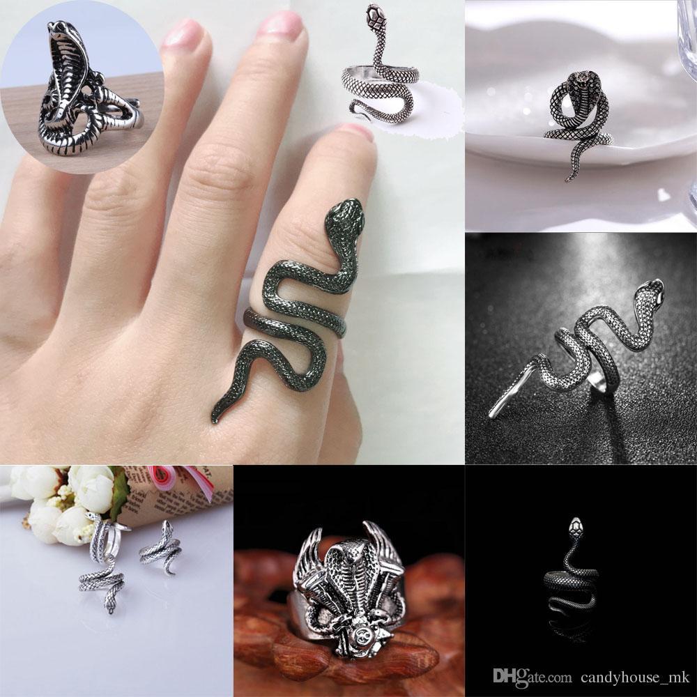 Unisex Punk Ring Edelstahl Kobra Ring Silber schwarz Mode coole Gothic Punk Wind Fingerring Einstellbare Größe