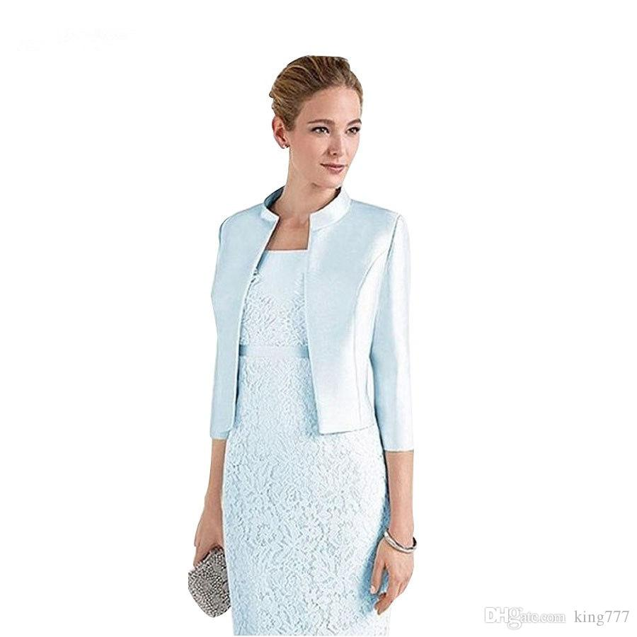 king custom made! New sky blue bride mother slim suit lace skirt for party party dinner