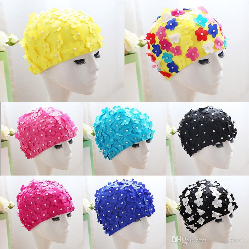 Moda 3D pétalo gorras de natación para el cabello largo al aire libre mujeres flores diseño Cap delicado Swimmings Hat muchos colores 15hl ZZ