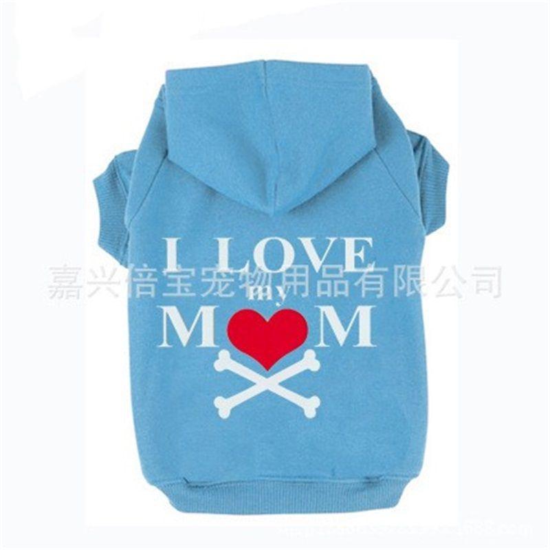Köpek Giyim Giyim Sevimli Polar Hoodie Ceket Baskı I Love My Mom Kalp Kemik Gömlek Kap Köpek Kazak Pet Malzemeleri 15 5bb bb