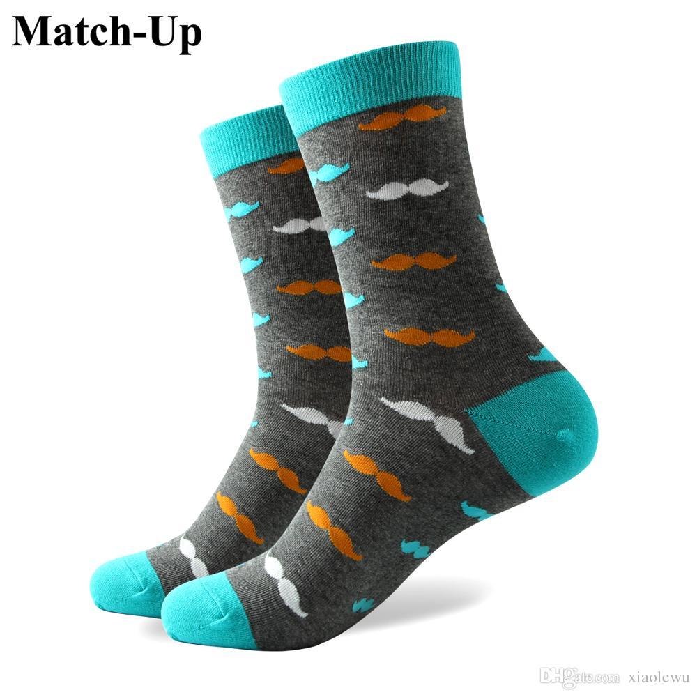 2016 heren gekamd katoen merk mannen sokken, kleurrijke snor sokken, gratis verzending, US size (7.5-12) 327
