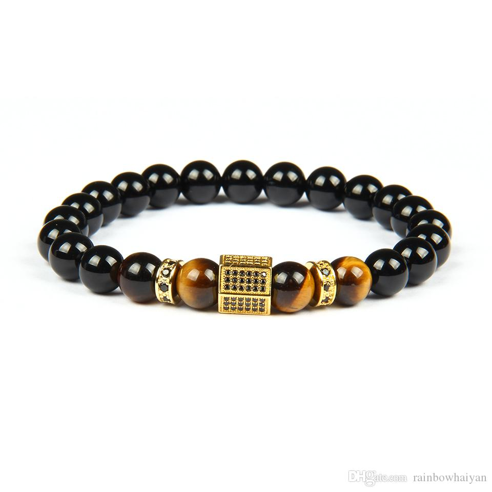 Men Gold Bracelet Wholesale Micro Pave Black Cz Hexagon Beaded Bracelets with 8mm Natural Black Onyx & Tiger Eye Stone Beads