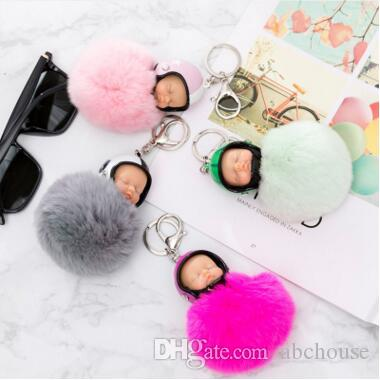Fantasy New Fluffy Rabbit Fur Pompom Motorcycle helmet Sleeping Baby Key Chain Women Fur Doll Keychain Car Keyring Toy 10 Colors