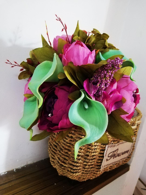 Романтический свадебный букет свадебные украшения Искусственный Фиолетовый пион Калла Bouque De Noiva Свадебные аксессуары