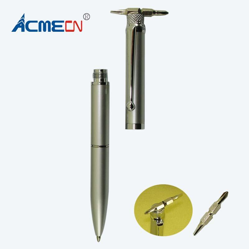 ACMECN 2017 New Pen 2 in 1 Penna a sfera multifunzione in metallo con cacciavite Ufficio e scuola Cancelleria con utensile magnetico