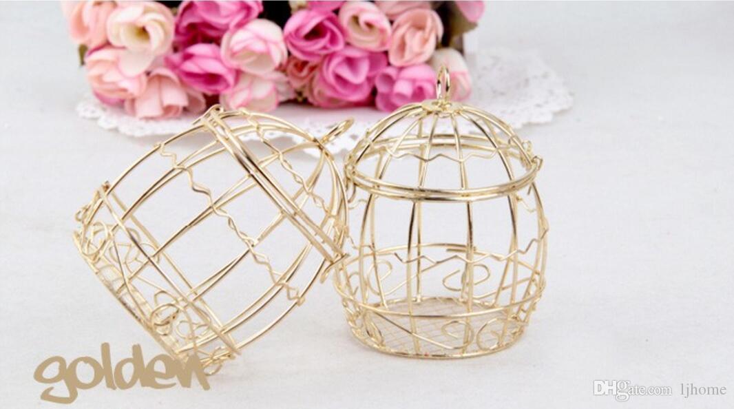 30pcs décorations de mariage boîtes à bonbons européenne cage à oiseaux en métal accessoires de mariage en métal boîtes de faveur cadeau 6.7 * 8.3 cm