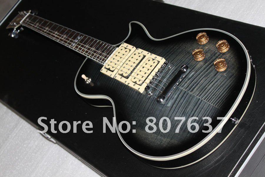 새로운 스타일 에이스 frehley 서명 기타, 에보니 지판 에이스 frehley 3 픽업 일렉트릭 기타, 마호가니 본체 Flame Maple