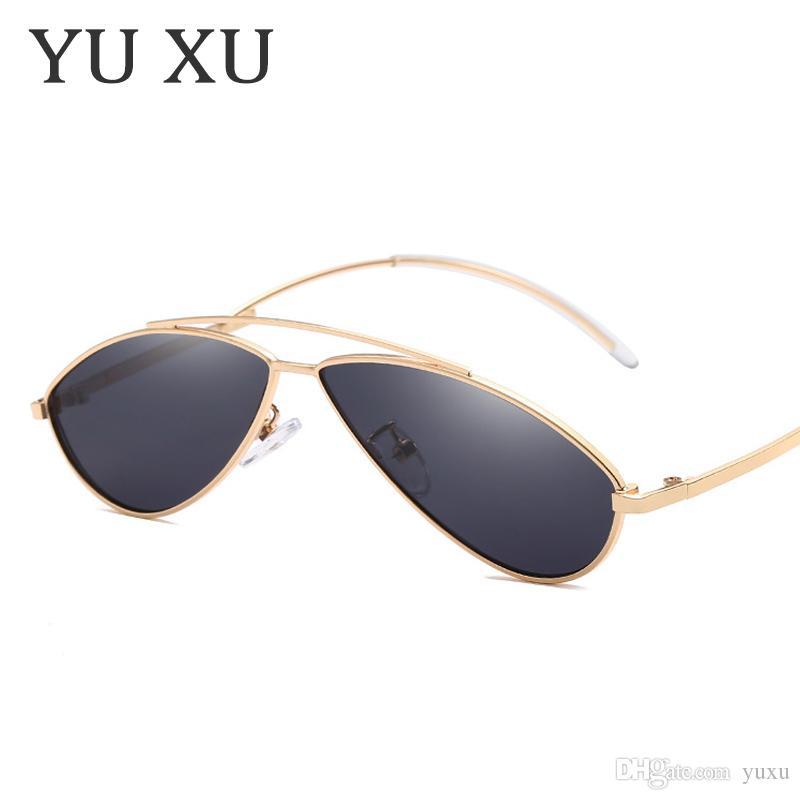 Yu Xu New Fashion Cat Eye Occhiali da sole Designer occhiali da sole per le donne Uomini occhiali da sole con montatura in metallo curvo H112