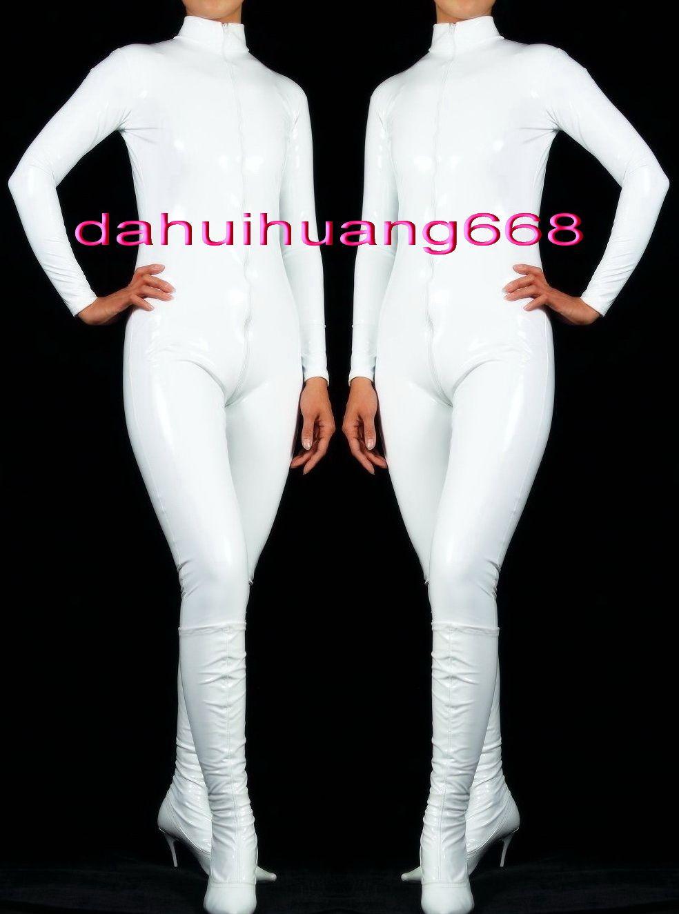 New Shiny White PVC Suit Catsuit Costumes Unisex Sexy PVC Bodysuit leotard Costumes Unisex White PVC Body Suit Costumes Front Long Zip DH187