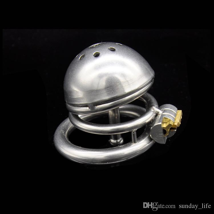 Prison Bird Stainless Steel Male Chastity Device with Catheter Cock Cage Chastity Belt Penis Ring Virginity Lock Cock Ring A221