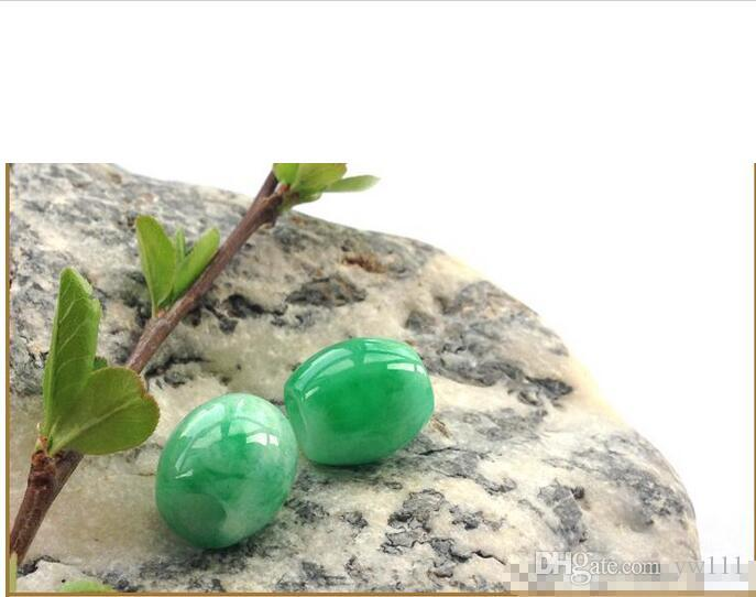10pc Natural a cargo Yang green jade road pass genuine transfer beads jade pendant pendant men and women necklace